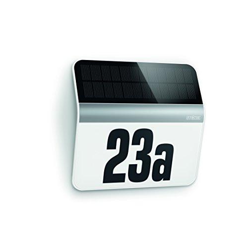 Steinel LED Hausnummern-Leuchte XSolar LH-N edelstahl, Beleuchtete Hausnummer inkl. 1100 mAh Lithium-Ferrum-Akku, Solar Außenwandleuchte mit Dämmerungsschalter und monokristallinem Solar-Panel, 007140