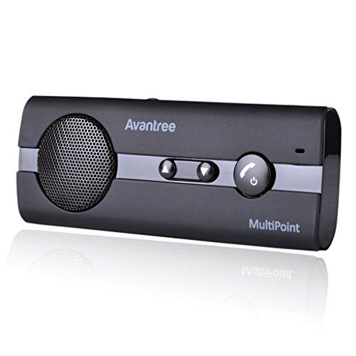 Avantree 10BP Freisprecheinrichtung Car-Kit Visier A2DP Support - V4.0 Bluetooth Auto Musik GPS Unterstützung - KFZ Freisprecheinrichtung Sonnenblende, für bis zu 2 Handys