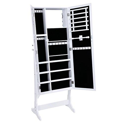 Songmics 154 x 57 x 36 cm Schmuckschrank Spiegelschrank mit galerie bilderrahmen Weiß JBC27W