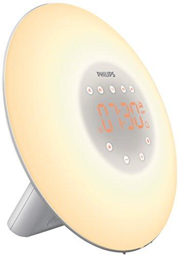 Philips HF3506/05 Wake-up Light LED, Aufwachen mit Licht, 2 natürlichen Wecktöne, silber