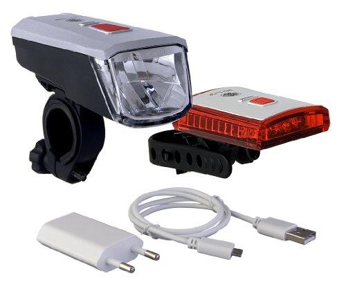 Büchel Batterieleuchtenset 40LUX LED Vancouver Li-ion Akku USB Ladegerät STVZO Zugelassen, Silber/Schwarz, 51225460
