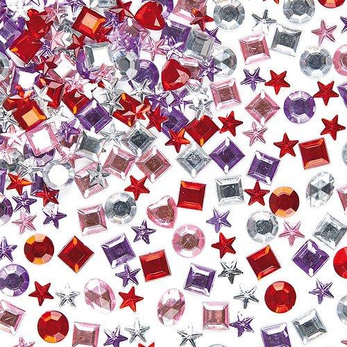 Selbstklebende Acryl-Schmucksteine - zum Basteln und Aufkleben für Kinder - für Grußkarten und Kostüme - 200 Stück