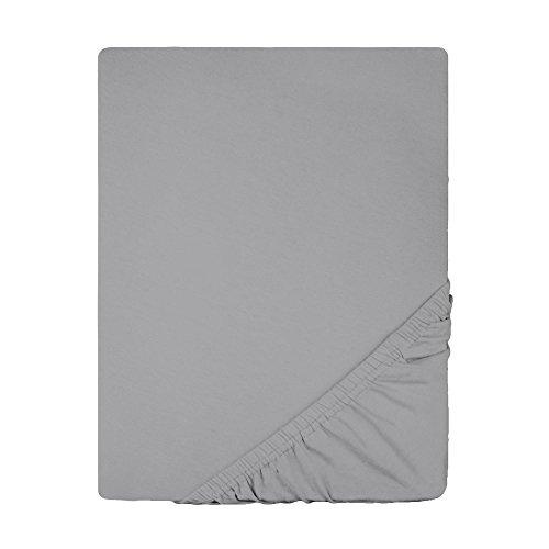 Spannbettlaken Jersey Baumwolle | viele Farben alle Größen | Spannbetttuch für Standardmatratzen | 140 x 200 bis 160 x 200 CelinaTex 0002793 Lucina dunkel-grau