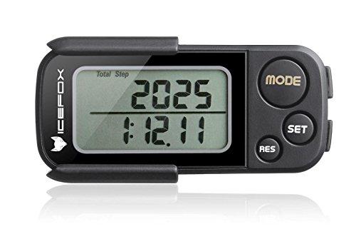 icefox® 3D Schrittzähler, mit Fitness AktivitätenZähler, derihre Leistung bis zu 30 Tage speichert,ein akkurater Laufschrittzähler, ein Trainingszeiten- und Kalorienzähler, hält die tägliche Leistungen fest, Tri-AxisTechnologie, Clip und Gurt