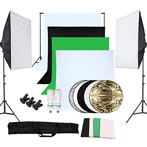 OUBO Profi Fotostudio Set 4X Hintergrundstoff (schwarz, 2x weiß, grün) Studioleuchte Studiosets Hintergrundsystem Hintergrund inkl. 5in1 Reflektor Ø60cm Stativ Softbox Studio Lampen Schutztasche