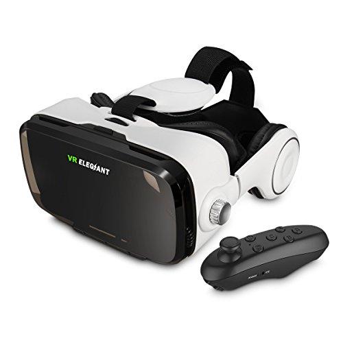 ELEGIANT 3D VR Headset Virtuelle Realität Headset Virtual Reality Brille Headset 3D VR Brille 3D Filme Video Box mit Kopfhörer + Bluetooth Controller Fernbedienung für 3D Fiome und Spielen Kompatibel mit 4 ~ 6 Zoll Smartphones iPhone 6 6Plus 6s 5S Samsung