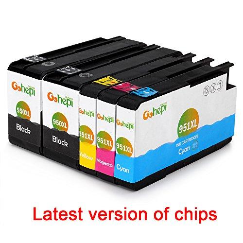 Gohepi Ersatz für HP 950XL 951XL Druckerpatronen hoher Reichweite 2 Schwarz 1 Blau 1 Rot 1 Gelb Kompatibel mit HP Officejet Pro 8620 8610 8600 Plus 276dw 8100 8615 251dw 8625 8660 8640 8630 Patronen
