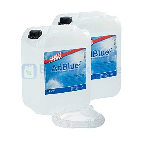 AdBlue 2 x 10 Liter Kanister von Hoyer mit Ausgießer für Audi, VW, Mercedes + 2 Stück Musterbatterien Mignon AA CardioCell Plus Batterien - Erstausrüster Qualität