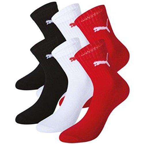 PUMA Unisex Short Crew Socks Socken Sportsocken MIT FROTTEESOHLE 6er Pack tango red / white / black 891 - 39/42