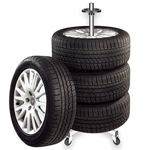Torrex 30049 ALU Felgenbaum / Felgenständer auf Rollen bis 225mm Reifenbreite mit Reifenschutzhülle