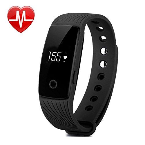 Willful SW321 Fitness Armband mit Pulsmesser - Bluetooth Armbanduhr Aktivitätstracker Schrittzähler Uhr mit Puls Schlafanalyse Kalorienzähler Vibrationswecker Anruf SMS SNS Vibration für Android iOS