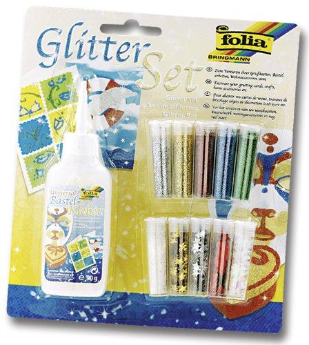 Folia 579 - Glitter-Set, 10 Dosen Dekomaterial, 1 Deko-Kleber 90 g