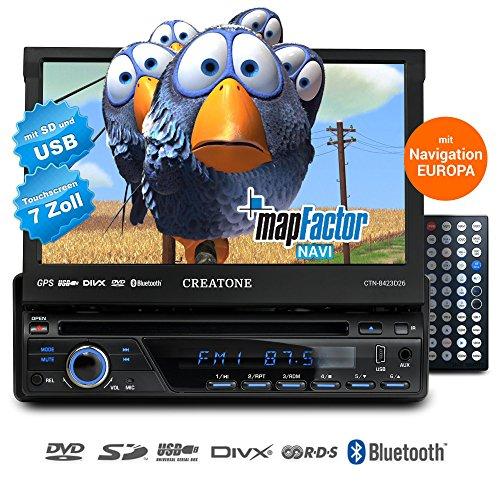 1DIN Autoradio CREATONE CTN-8423D26 mit GPS Navigation, Bluetooth, DVD-Player, Touchscreen und USB/SD-Funktion