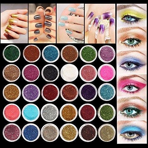 Glitter Eyeshadow LuckyFine 30 Farben Mix Glitter Puder Lidschatten Eyeshadow Kosmetik Schminke Makeup Set