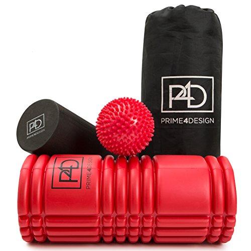 Massagerollenset: 2 Faszienrollen und Massageball - mit gezielten Faszien Übungen zum Faszientraining - Ideal zur Selbstmassage.