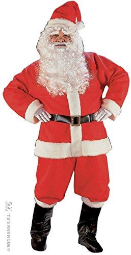 Widmann 1546S - Weihnachtsmannkostüm Luxus, Jacke, Hose, Gürtel, Hut, Stiefelüberzieher, Perücke, Bart und Augenbrauen