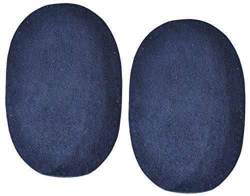 2 Stk. Wildleder - echtes Leder - Flicken - dunkel blau - 10 cm * 15,5 cm - oval - Aufnäher zum Aufnähen / Applikation XL Format