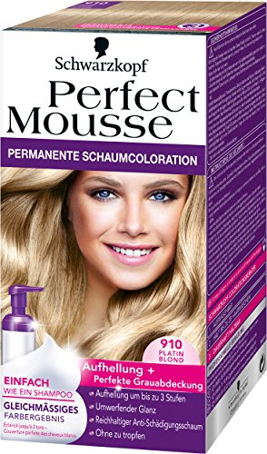 Perfect Mousse permanente Schaumcoloration, 910 Platin Blond, 3er Pack (3 x 93 ml)