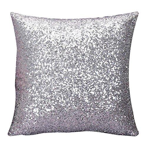 Rosennie Solid Color Glitter Pailletten Dekokissen Fall Cafe Home Decor 40cm*40cm Kissenbezüge (Silber)