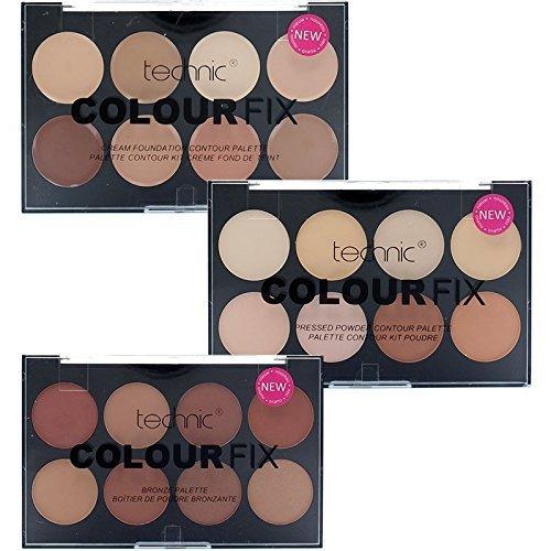 Technic 8 Colour Fix Palette Collection 8 Contour Powder, 8 Cream Foundation & 8 Bronze Powder