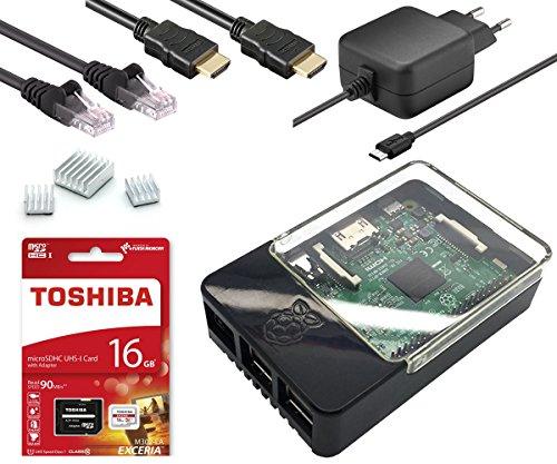 Raspberry Pi 3 Modell B - Full Starterkit - Bestehend aus: Raspberry Pi 3, Micro USB Netzteil 5V / 2,5A, HAT kompatibles Raspberry Pi Gehäuse schwarz/transparent, Toshiba 16GB Class 10 MicroSDHC Speicherkarte + Adapter, 2,0m HDMI Kabel, 2,0m Netzwerkkabel