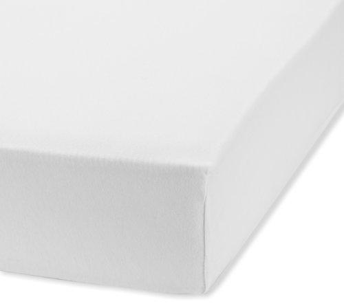 fleuresse Spannlaken 1115-1000, 120/200 cm Jersey, Farbe Weiß, 100% Baumwolle, mit praktischem Rundumgummi