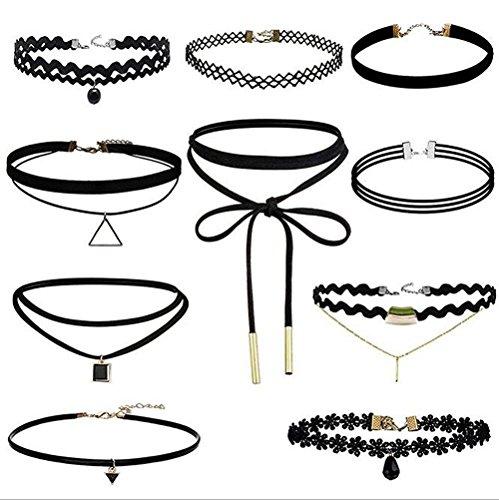 10 Stück Hoker Halskette Velvet Spitze Choker Halsketten Stretch Elastische Halskette Tassel Ketten, Schwarz