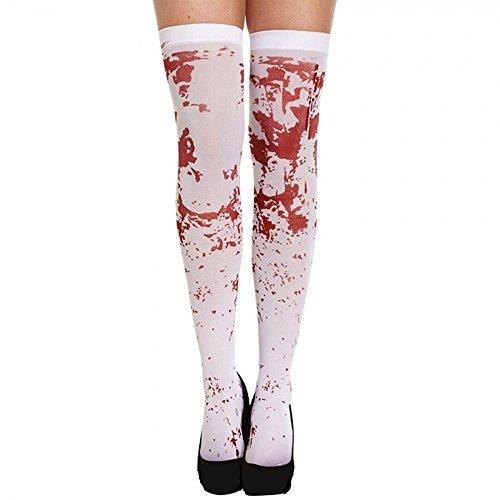 Henbrandt - Weiße Blutige Halterlose Strümpfe Kostüm