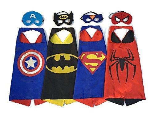 RioRand Comics Cartoon-Helden kinder verkleiden Kostüme 4 Satz Satin Capes mit Filz Masken für Jungen