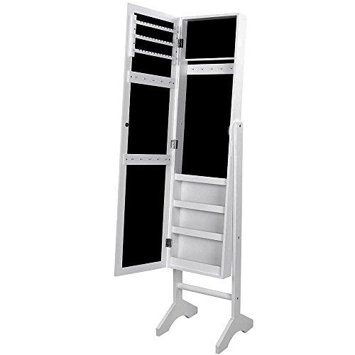 Songmics JBC77W Schmuckschrank und Standspiegel Zwei in einem, weiß, 35 x 35 x 153 cm