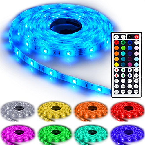 5m NINETEC Flash30 RGB LED Strip Leiste Streifen SMD Band 30 LEDs/m Wasserdicht + 44 Key Fernbedienung IP65