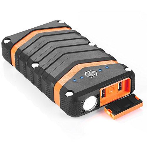 NexGadget 20000mAh mit IP67 Zertifizierung wasserdicht, staubdicht sowie stoßfest, 3 leuchtmodis Taschenlampenfunktion,Samsung ICR18650-30B Akku verbaut,,tragbare Charger Rugged-Power-Bank für Ipad,Iphone,samsung usw..