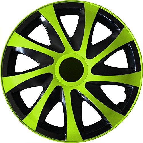 (Farbe und Größe wählbar) 15 Zoll Radkappen DRACO (Schwarz-Grün) passend für fast alle Fahrzeugtypen (universal)