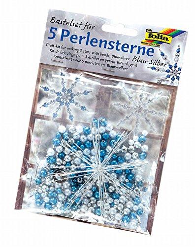 Folia 12530 - Bastelset Für 5 Perlensterne, blau/Silber/Perlweiß