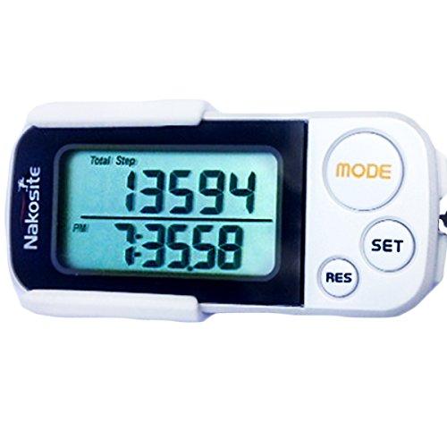 NAKOSITE-Genauer 3D Schrittzähler, Kalorienzähler, mit Fitness eBook. 30 Tage Speicher nicht 7. Meilen oder kilometerzähler mit Clip & Gurt. Pedometer mit Trainings-Modus, Tägliche Leistung Monitor, konstruiert mit Tri-Axis Technik, digitales leicht zu le