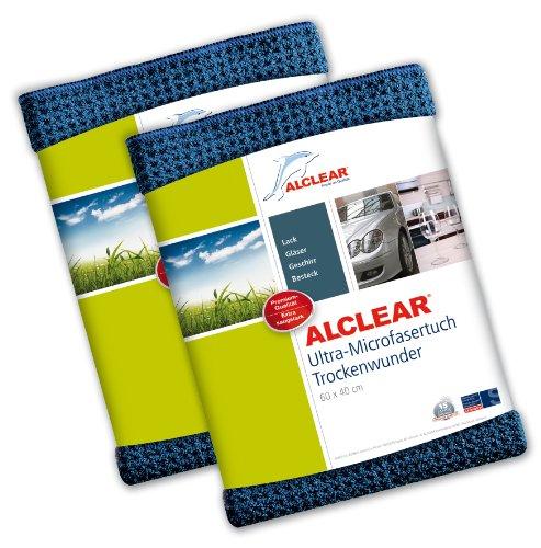 2er Set ALCLEAR Microfasertuch Trockenwunder - zieht Wasser wie ein Magnet - perfekt für Auto, Autolacke, Motorrad und Küche - superweiche Premium-Qualität für besten Werterhalt - 60x40 cm dkl.blau