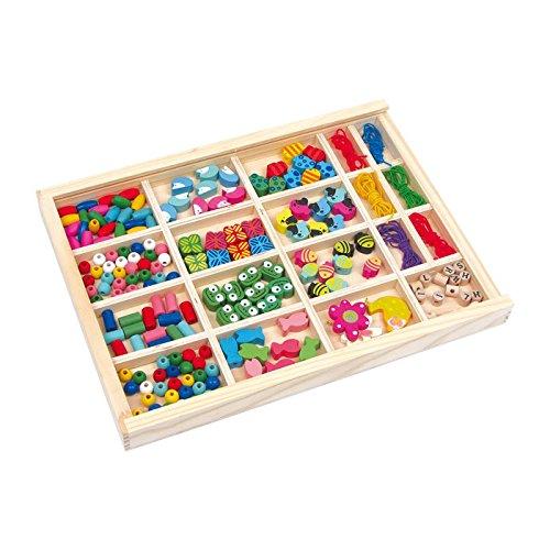 Fädelbox aus Holz für Kinder ab 3 Jahren, 13 verschiedene Perlenvarianten aus Holz, sechs bunte Gummibänder zum Fädeln
