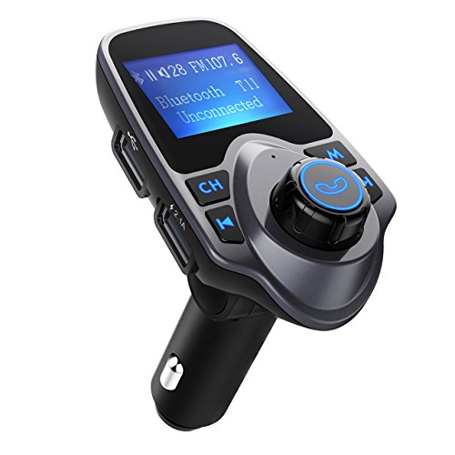FM-Transmitter, OMorc Bluetooth KFZ Wireless Radio Adapter, FM Transmitter Empfänger mit Mikrofon, 2 Auto USB Ladegerät (5V/2,1A Ausgang), 3,5mm AUX-Eingang mit 1,44-Zoll-Display,TF Karte Slot für Handy iPhone 7/7 Plus/SE/6S/6Plus, Samsung Galaxy S7/S6/No