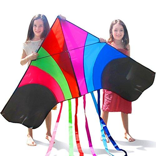 Tomi Kite - Riesiges Regenbogen Drachen, Ideal per Kinder und Erwachsene - Einfach zu fliegen bei starkem Wind oder leichter Brise - 1,5 M breit (60'') - 100 Meter Schnur - 6 Schnuren - Hergestellt zur Dauerhaftigkeit - Fantastisch zum Familienvergnügen