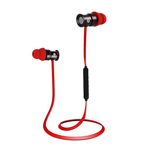 EC Technology Bluetooth 4.1 In-Ear-Kopfhörer Sport Headset mit Mikrofon & Stereo & Magnet - Rot&Schwarz