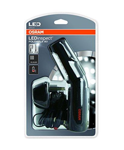 OSRAM LEDinspect FOLDABLE 80, wiederaufladbare LED Inspektions- und Werkstattlampe, Arbeitsleuchte mit Akku, LEDIL201, speziell für Arbeiten am Fahrzeug in Ihrer Garage, Faltschachtel (1 Stück)