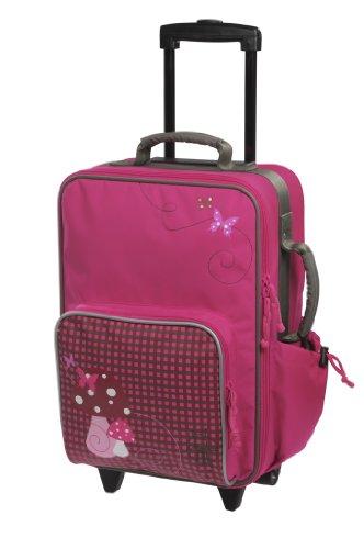 Lässig stabiler Kinder Reisekoffer/Kindertrolley mit separatem Schuh-/Wäschebeutel, Mushroom magenta