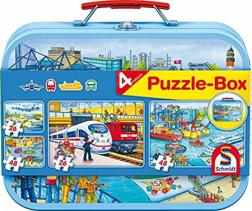 Schmidt Spiele 56508 Metall Puzzlekoffer, Verkehrsmittel, 2 x 26, 2 x 48 Teile