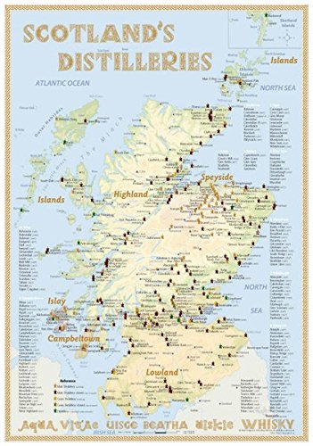 Whisky Distilleries Scotland - Tasting Map 24x34cm: The scottish Whiskylandscape in Overview