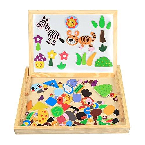 InnooBaby 100tlg Lernspielzeug Magnetisches Puzzle aus Holz Spielzeug Holzpuzzles für Kinder ab 3 Jahren