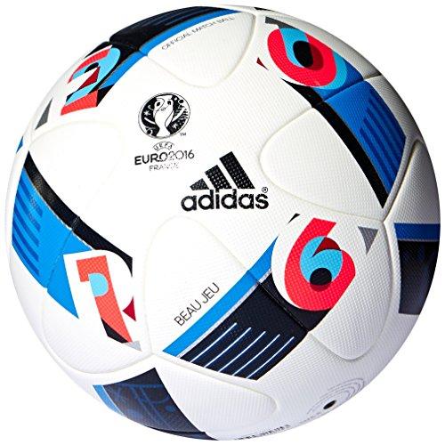 adidas Herren Ball EURO 2016 Official Match, White/Bright Blue/Night Indigo, 5, AC5415