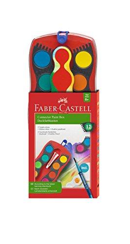 Faber-Castell 125023 - Farbkasten Connector mit 12 Farben, inklusive Clic and Go Pinsel, Größe 4