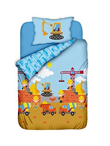 Aminata Kids - süße Jungen-Kinder-Bettwäsche Baustelle 100x135 hochwertige Baumwolle Bettwäsche-Kinder mit Bagger Kran und Betonmischer Bauarbeiter - Kinderbett-Größe