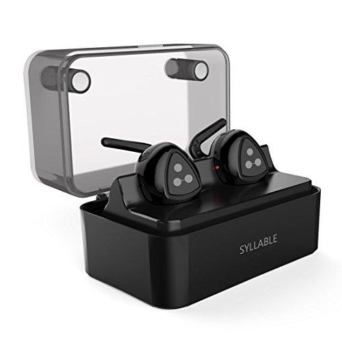 Syllable D900MINI doppelte kabellose Kopfhörer Bluetooth V4.1 in ear Stereo Mini Headset Earbud mit tragbare Ladestation integriertem Mikrofon Freisprechen für Handys iPhone iPad Laptops Tablets und Smartphones