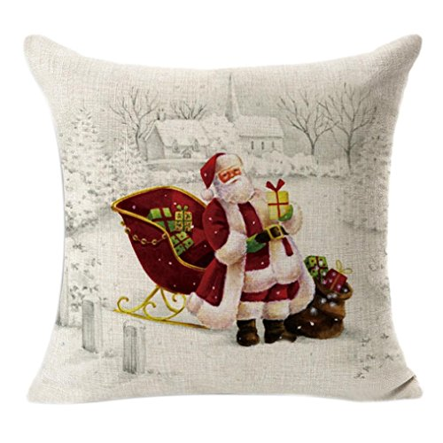 ZARU Weihnachten Leinen Platz Werfen Flachs Pillowcase Dekorative (E)